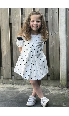 Lapin House dress blue dots offwhite
