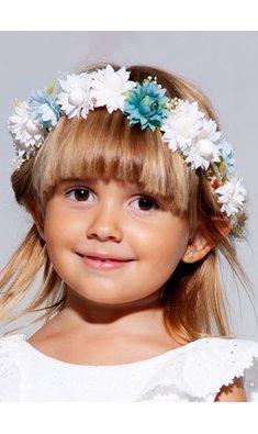 Abel & Lula bloemenkrans wit met blue