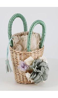 Abel & Lula raffia tasje met bloemen blue