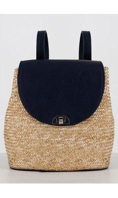 Abel & Lula backpack raffia navy