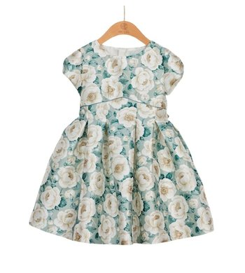 Abel & Lula jurk mikado bloemenprint jade/ecru multi
