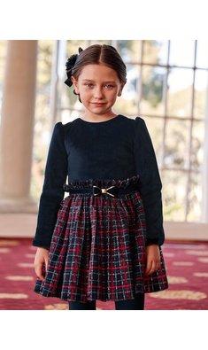 Abel & Lula dress checkered skirt navy