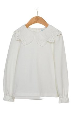 Abel & Lula top embroiderd colar offwhite