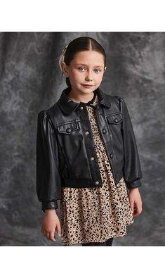 Abel & Lula artificial leather jacket black