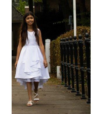 Bonnie Jean jurk bruidsmeisje waterval wit