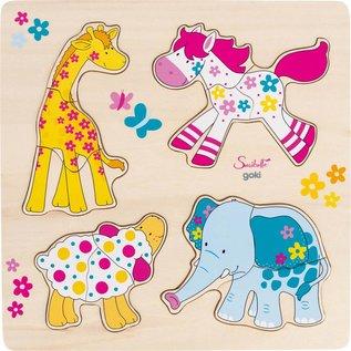 Goki Goki houten dieren puzzel 'Susibelle en vriendjes'