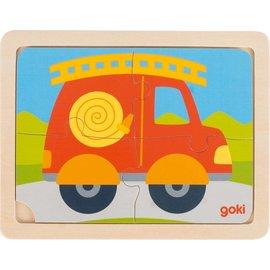Goki Goki houten puzzel Brandweerauto