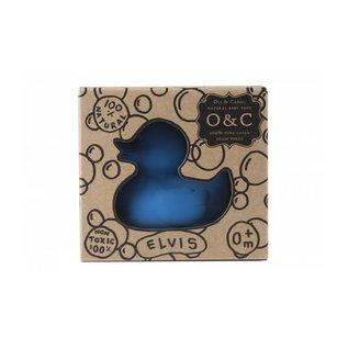 Oli & Carol Bijt en bad speeltje eendje blauw  S - van 100% natuurrubber