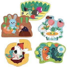 Vilac Vilac, 5 puzzels 'In de tuin'