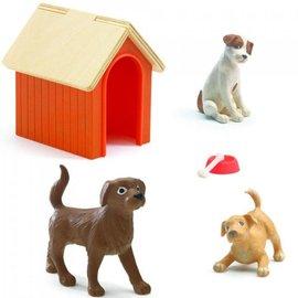 Djeco Djeco poppenhuis honden met hondenhok - set van 3