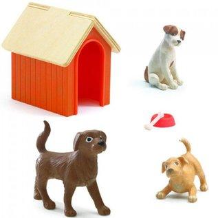 Djeco Djeco poppenhuis honden met hondenhok - set van 3 DJ07818