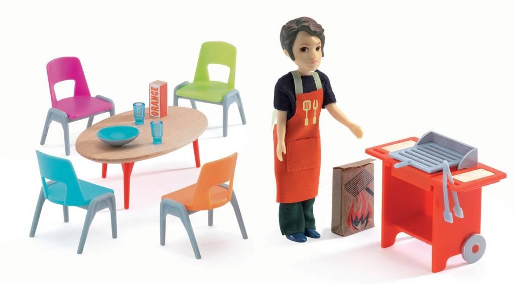 Djeco poppenhuis inrichting barbecue accessoires dj de