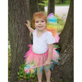 Great Pretenders Great Pretenders neon regenboog tutu met vleugels en toverstafje (3-6 jaar)