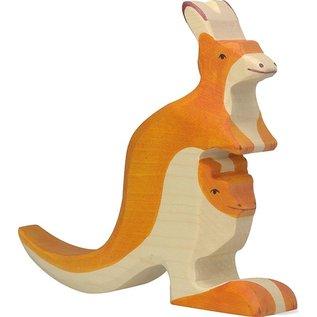 Holztiger Holztiger kangaroe met kindje 80193