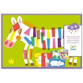 Djeco Djeco Knutselset - Creëren met stickers - Grote dieren