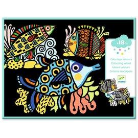 Djeco Djeco Fluwelen kleurplaten - Vissen