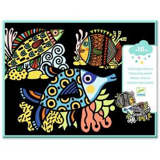 Djeco Djeco Fluwelen kleurplaten - Vissen DJ09098