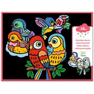 Djeco Djeco Fluwelen kleurplaten - Baby vogeltjes DJ09099