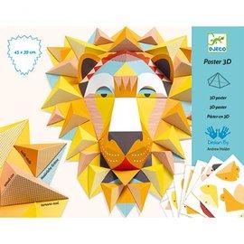 Djeco Djeco 3D poster vouwen - Koning leeuw