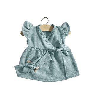 Minikane Minikane Linnen jurk met haarband Iris lichtblauw