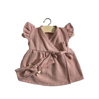 Minikane Minikane Linnnen jurk met haarband Iris oudroze