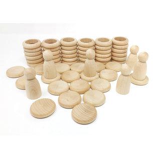 Grapat Grapat Nins® ringen en muntjes Naturel 60-delig 15-102C
