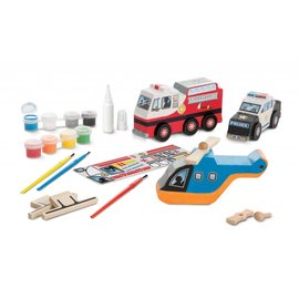 Melissa & Doug Melissa and Doug DIY houten reddingsvoertuigen  set