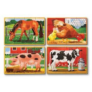 Melissa & Doug Melissa and Doug 4 boerderijdieren puzzels in houten doos