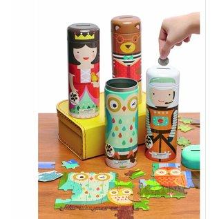 Petit Collage Uilenfamilie puzzel in spaarpot