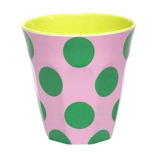 Ginger Melamine drinkbeker 'Happy Dots' groen