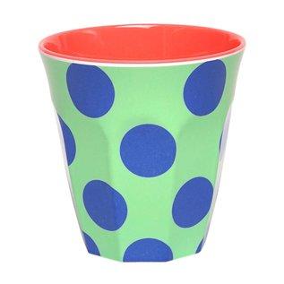 Ginger Melamine drinkbeker 'Happy Dots' blauw