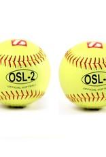 """barnett OSL-2 Soutěžní softbalový míč, velikost 12"""", žlutá, 2 ks"""