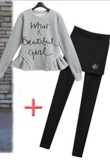 Lolita grijs/zwarte twinset (trui & broek )