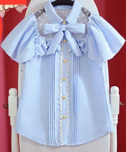 Lolita blauwe ruitjes blouse