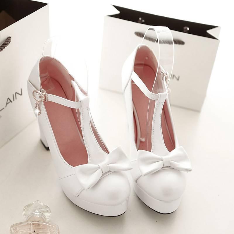 Lolita witte schoen met hoge hak