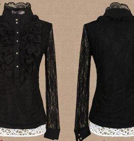 Zwarte,kanten lange mouwen blouse