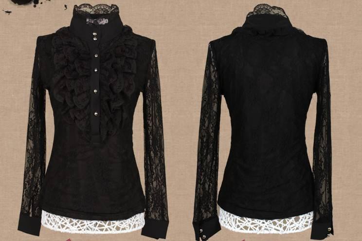 zwarte blouse met kanten mouwen
