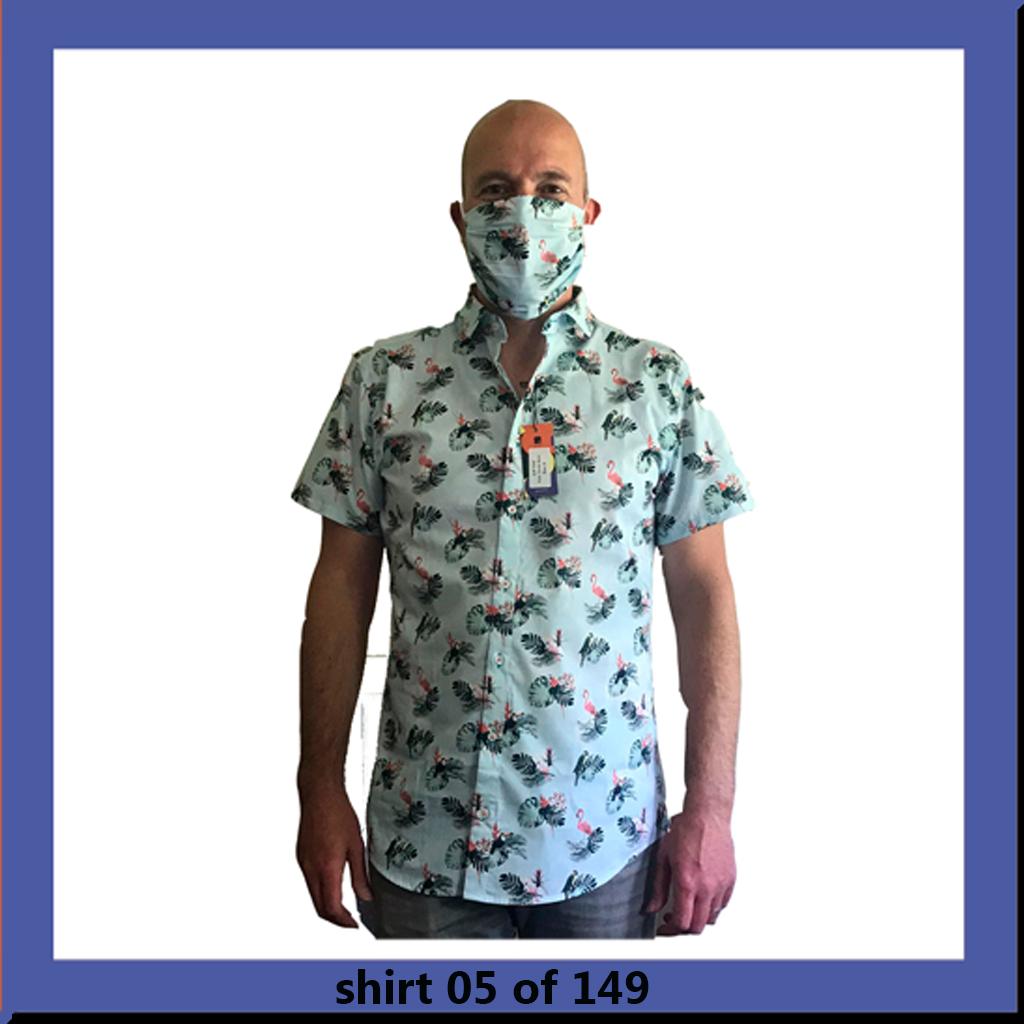 bb chum overhemd korte mouwen mondkapje contiki birds