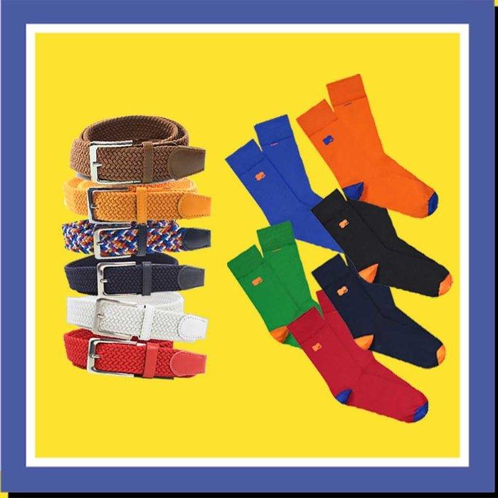 Match je kleurrijke overhemd met je riem en sokken