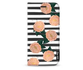 Striped Winter Flowers - Wallet Case Black Samsung Galaxy J3 (2017)