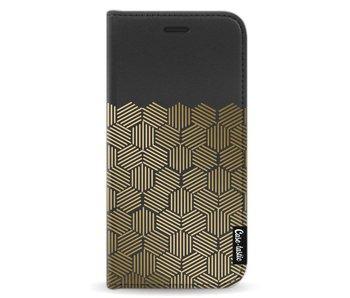 Golden Hexagons - Wallet Case Black Samsung Galaxy J3 (2017)