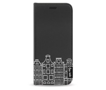 Amsterdam Canal Houses White - Wallet Case Black Samsung Galaxy S9