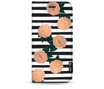 Striped Winter Flowers - Wallet Case Black Samsung Galaxy S9 Plus