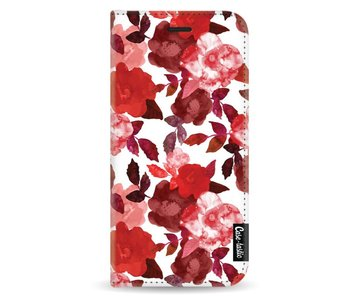 Royal Flowers Red - Wallet Case White Samsung Galaxy A8 (2018)