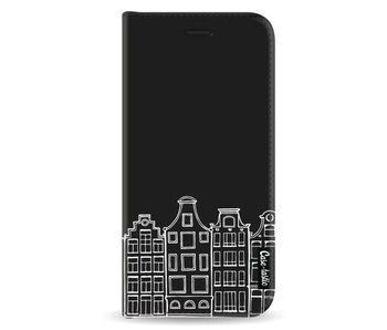 Amsterdam Canal Houses White - Wallet Case Black Samsung Galaxy A8 (2018)