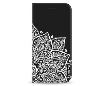 Floral Mandala White - Wallet Case Black Samsung Galaxy A8 (2018)