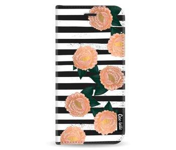 Striped Winter Flowers - Wallet Case Black Samsung Galaxy A8 (2018)