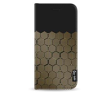 Golden Hexagons - Wallet Case Black Samsung Galaxy A8 (2018)