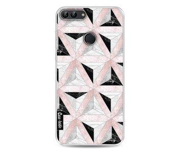Marble Triangle Blocks Pink - Huawei P Smart