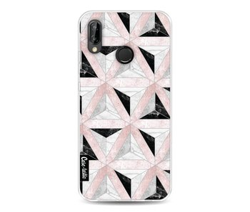 Marble Triangle Blocks Pink - Huawei P20 Lite